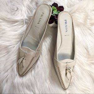720a615d97c7b Prada Shoes - Prada 37.5 Simple mule White w beige stitch ☀ 🏝